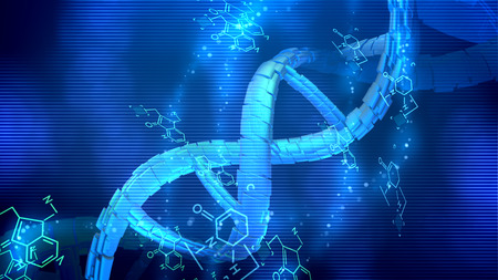 Stunning 3d illustration of a spiral looking DNA spinning around its axis in the light blue background being placed diagonally. Chemical formulas are spinning nearby too.