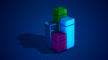 Stunning 3d illustration of four cubic squares of blue, green, celeste and pink colors forming a chart put on a light blue surface with a network. It looks optimistic, perfect and arty.