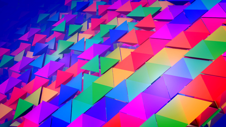 Wonderful 3d illustration of colorful pyramids located diagonally in straight and long rows as if a group of kids placed them with bottoms up. It looks childish, optimistic, and advanced.