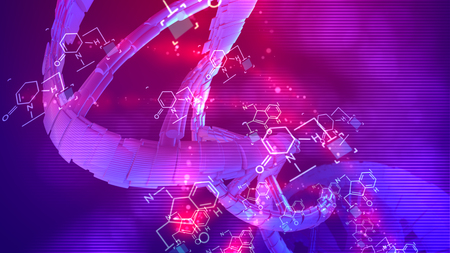 Splendid 3d illustration of a coil looking DNA rotating around its axis in the blue and rosy background placed aslant. Chemical formulas are spinning around cheerfully too.