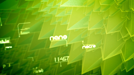 Striking 3d illustration of nano pyramids with spiky and steep slopes, rotating coils, changing texts, shimmering digits in the salad background. It looks inspiring and futuristic Banco de Imagens - 119043607