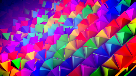 Optimistic 3d rendering of rainbow pyramids located on a slanted surface in straight and long rows with their sharp tops aimed up. It looks optimistic, innovative, and funny.