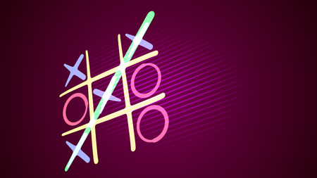 Astonishing 3d illustration of a tic tac toe game with a white grid, pink and celeste figures, a winning diagonal end and a long line in the purple background put askew. It looks funny. Banco de Imagens - 119043939