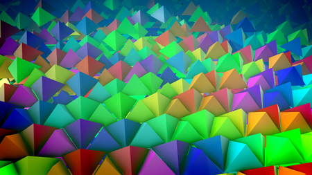 Childish 3d rendering of rainbow pyramids placed on a slanted surface in straight and long lines with their sharp tops aimed up in the blue background. It looks optimistic and innovative Stok Fotoğraf