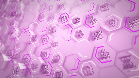 Cheerful 3d illustration of business hexagons with computer symbols of screens, sandglasses, linked with each through rosy lines in the white backdrop in an optimistic way. Banco de Imagens - 119043944