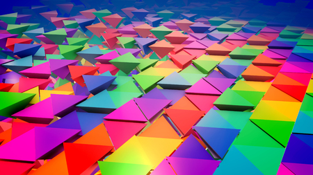 Inspiring 3d illustration of multicolored pyramids placed in straight and lengthy rows like a flat surface with pyramids bottoms put up. It looks optimistic, innovative and funny. Stok Fotoğraf