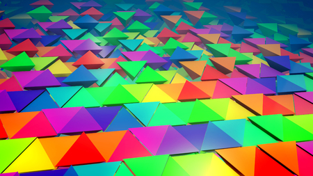 Optimistic 3d illustration of colorful pyramids located horizontally in straight and long lines with some pyramids pushed out with bottoms up. It looks original, childish and exciting. Stok Fotoğraf