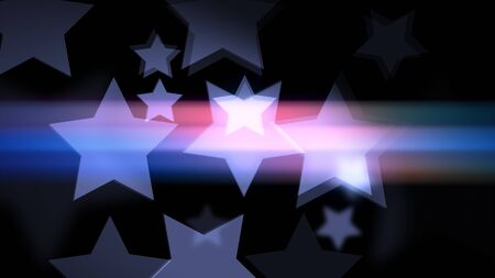 Beautiful bokeh effect in star shaped on the black background. Stars smooth Glowing and glittering