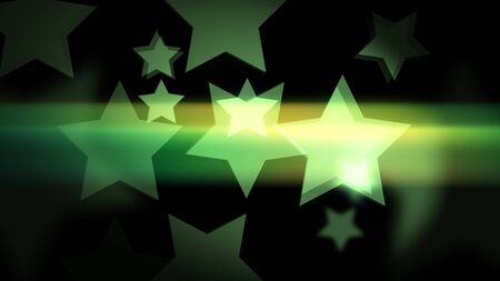 Green star-shaped bokeh with glow and glitter on the black background. Holiday or business or vacation backdrop. 2d illustration.