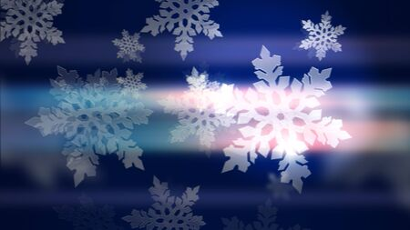 Happy New Year and Merry Christmas background. Gorgeous 3d illustration of glowing and glittering white snowflakes on the blue background.