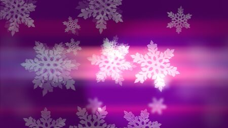 Abstract 3d rendering of bright white winter snowflakes on pink and violet background. Beautiful Merry Christmas and Happy New Year background. 写真素材