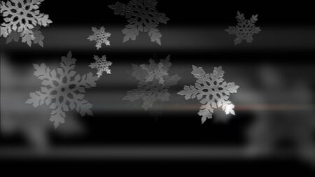 White snowflakes animation on the black backdrop. Merry Christmas! Happy New Year!