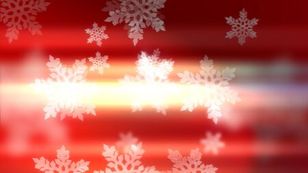 Merry Christmas! Happy New Year! Gorgeous 3d illustration of white holiday snowflakes on the red backdrop.  写真素材