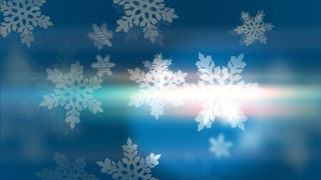 Merry Christmas! Happy New Year! Light Blue background with 3d snowflakes. 写真素材