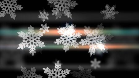 Merry Christmas! Happy New Year! White snowflakes animation on the black backdrop.