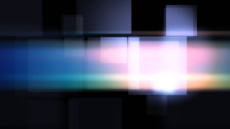 Hi-tech 2d illustration of shimmering pink squares flying in the dark background. Imagens