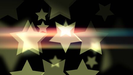 Exiting 2d illustration of film bokeh with retro stars shaped on the black background. Suitable for holiday