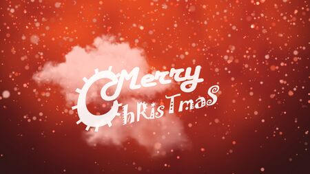 Merry Christmas text on red background with a white cloud and snow falling. 写真素材