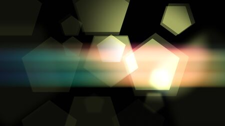 Smooth lighted pentagons are glittering in the night background. 2d illustration backdrop. Stock fotó