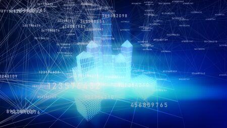 3d illustration of Plexus connection with some digital datas. Digital figures background.