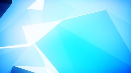 3d illustration of a light blue triangles background with blank space for titles.