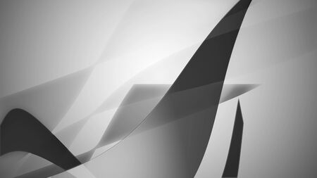 3d illustration of an abstract wavy background in black and white colors.