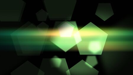 Green Pentagons on black background with colorful lens flares Stock fotó