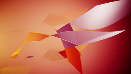 Abstract elements on an orange background. 3d illustration. Stock fotó
