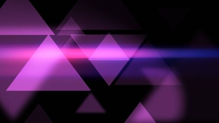 Amazing 3d illustration of background with glowing and glittering pink triangles on the black background.  Stock fotó