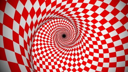 Exciting 3d illusion of rotating red and white optical illusion squares shaping a curvy portal. It looks futuristic, psychedelic and fine.