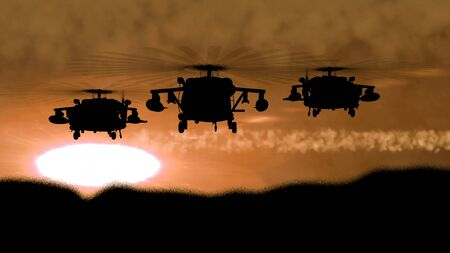 Rampant 3d illustration of Apache helicopter silhouette full of armament soaring at shining brown and orange sunset. It looks fearsome and fine. Stok Fotoğraf