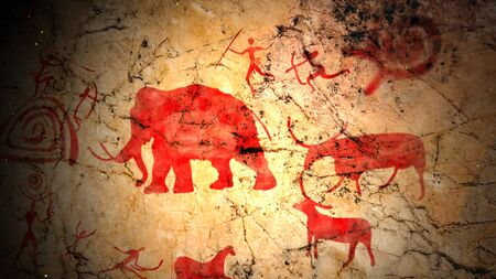 Amazing 3d illustration of primitive ancient art on a brown cave surface with people with spears, arrows and bows hunting elephants, elks, and bulls.