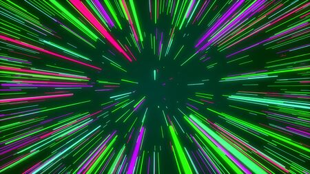 Optimistic 3d illustration of a rainbow cosmos tunnel from colorful straight stripes looking like sun rays shining joyfully in the marine cyberspace.