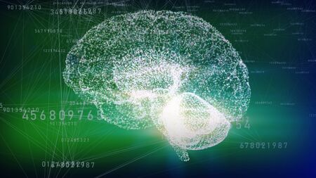 3d illustration of hologram human brain  side view on a green background. Artificial Intelligence concept.  Stockfoto