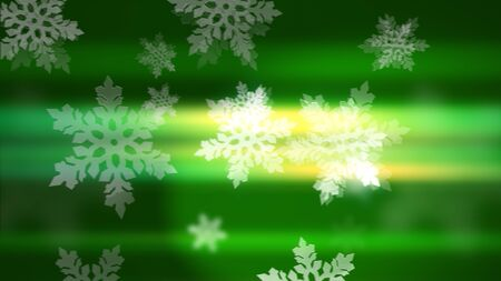 Merry Christmas and Happy New Year background. Snowflakes on the green background.