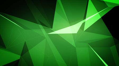 3d illustration of Plexus effect geometric triangle. Abstract background in green color.