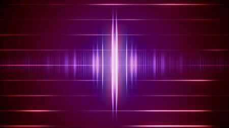 Abstract digital sound wave on the striped background with light signals. 2d illustration. Stockfoto