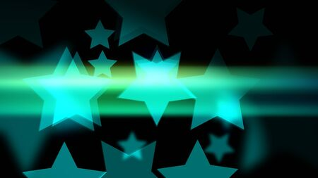 Star-shaped bokeh with glow and glitter on the black background. Holiday or business or vacation backdrop. 2d illustration.