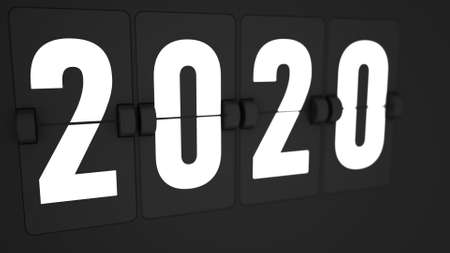 3d render of Extremely closeup of Flip countdown timer of year. 2020. Happy new year. Countdown timer. Mechanical scoreboard of counter of elapsed time. Stock fotó