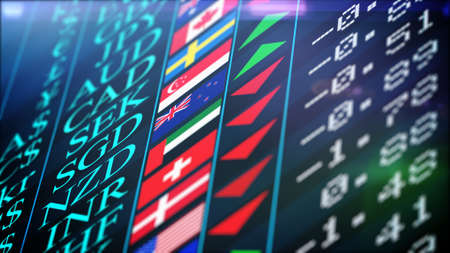 Abstract Stock market trading graph for financial investment and economic concept with the titles, signs and flags of different currencies. Price and shimmering green and red arrows.