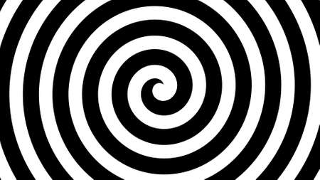 2d Illustration of Hypnosis Spiral, concept for hypnosis, unconscious, chaos, extrasensory perception, psychic, stress, strain, optical illusion, headache, migraine. Black and white.