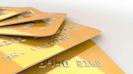 3d rendering of Realistic detailed gold credit cards with bright abstract gold design on white background. Stock fotó