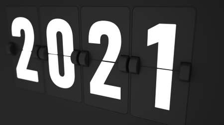 3d render of Extremely closeup of Flip countdown timer of year. 2021. Happy new year. Countdown timer. Mechanical scoreboard of counter of elapsed time.