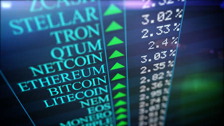 Closeup of Positive Cryptocurrency market rank. Bitcoin, Ethereum, Litecoin, Ripple, etc. A cryptocurrency is a digital or virtual currency that uses cryptography for security.