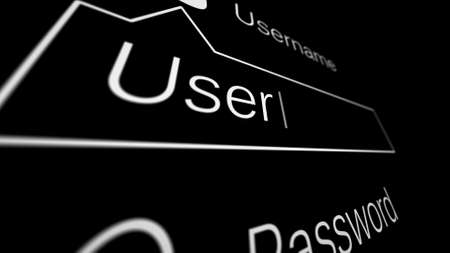 Entering Username and Password on a black page on the Internet. Internet Technology Safety Concept. Shallow Depth of Field. Extremely Closeup Camera. 3d illustration. Banque d'images
