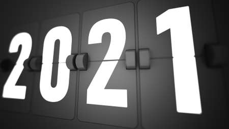 2021 Happy New Year Black Promotion Flip countdown timer of year. Change or open to new year 2020 concept.