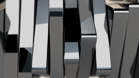 3d rendering of Stainless steel bars in vertical rows.