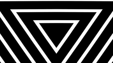 Illustration of  Geometric triangles background pattern made from black and white bar. Eternity and deep.
