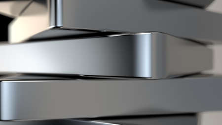 3d rendering of Metal, chrome plates, shiny, vertically arranged. Shallow depth of field.
