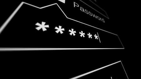 Entering Password on a black page on the Internet. Internet Technology Safety Concept. Shallow Depth of Field. 3d illustration.